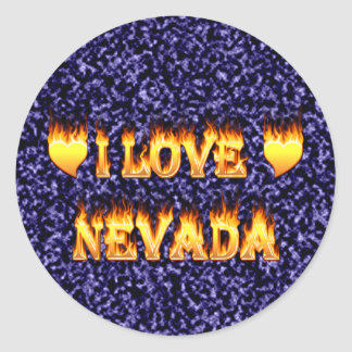 I love nevada fire and flames round stickers