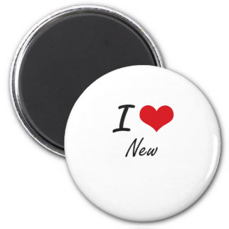 I Love New 2 Inch Round Magnet