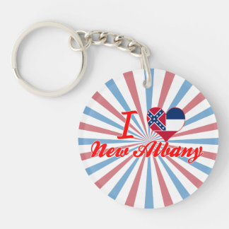 I Love New Albany, Mississippi Single-Sided Round Acrylic Keychain