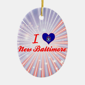 I Love New Baltimore, Michigan Double-Sided Oval Ceramic Christmas Ornament