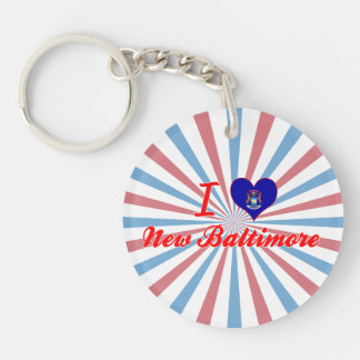 I Love New Baltimore, Michigan Single-Sided Round Acrylic Keychain