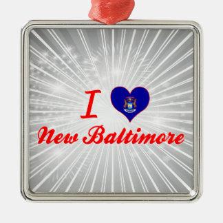 I Love New Baltimore, Michigan Square Metal Christmas Ornament