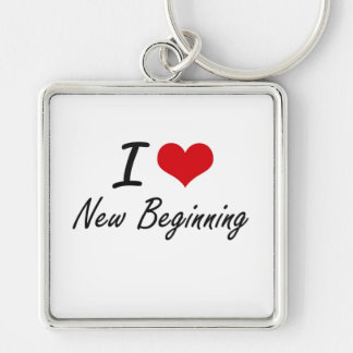 I Love New Beginning Silver-Colored Square Keychain