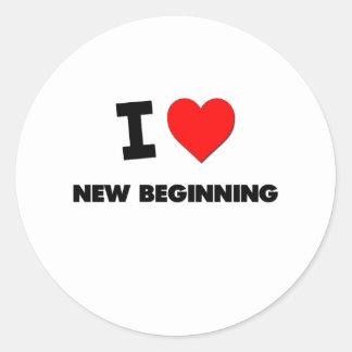 I Love New Beginning Round Stickers