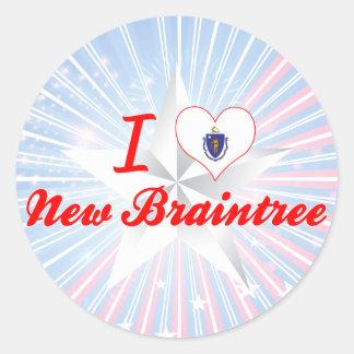 I Love New Braintree, Massachusetts Classic Round Sticker
