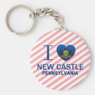 I Love New Castle, PA Basic Round Button Keychain