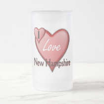 I Love New Hampshire Frosted Glass Beer Mug