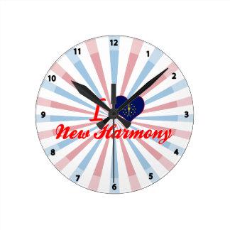 I Love New Harmony, Indiana Round Wall Clock