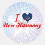 I Love New Harmony, Utah Round Stickers