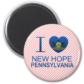 I Love New Hope, PA 2 Inch Round Magnet