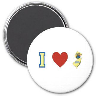 I Love New Jersey 3 Inch Round Magnet