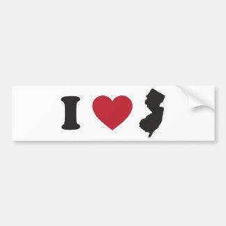 I Love New Jersey Bumper Sticker