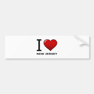 I LOVE NEW JERSEY CAR BUMPER STICKER