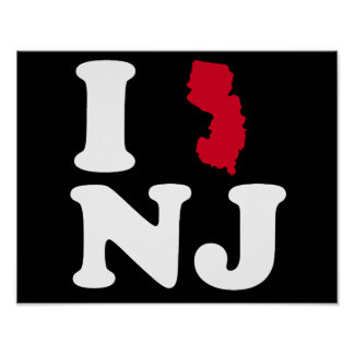 I LOVE NEW JERSEY - CLASSIC - Map Design -.png Poster
