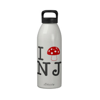 I LOVE New Jersey - Crimson Red Magic Mushroom Drinking Bottles
