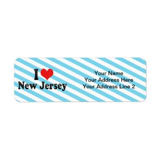 I Love  New Jersey Custom Return Address Label