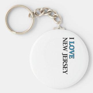 I Love New Jersey Design Basic Round Button Keychain