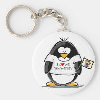 I Love New Jersey Penguin Basic Round Button Keychain