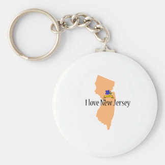 I love new jersey product basic round button keychain