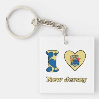 I love New Jersey Single-Sided Square Acrylic Keychain