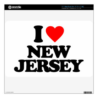 """I LOVE NEW JERSEY 11"""" MacBook AIR DECAL"""