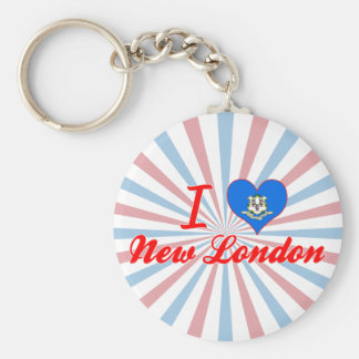 I Love New London, Connecticut Keychains