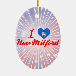 I Love New Milford, Connecticut Double-Sided Oval Ceramic Christmas Ornament