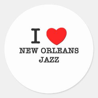 I Love New Orleans Jazz Round Stickers