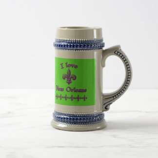 I Love New Orleans T shirts, Mugs, Buttons 18 Oz Beer Stein