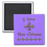 I Love New Orleans T shirts, Mugs, Buttons 2 Inch Square Magnet