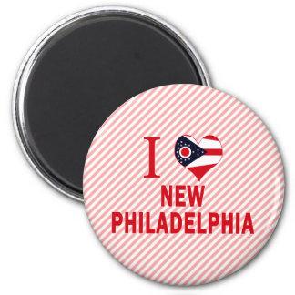 I love New Philadelphia, Ohio 2 Inch Round Magnet