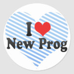 I Love New Prog Round Stickers