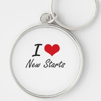I love New Starts Silver-Colored Round Keychain