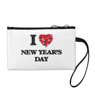 I Love New Year'S Day Coin Purses