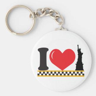 I Love New York Basic Round Button Keychain