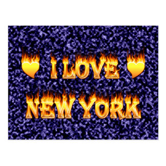 I love new york fire and flames postcard