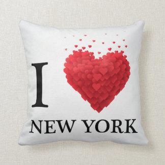 I Love New York Hearts Throw Pillow