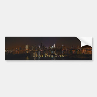 """I love New York"" Night Skyline bumper sticker"