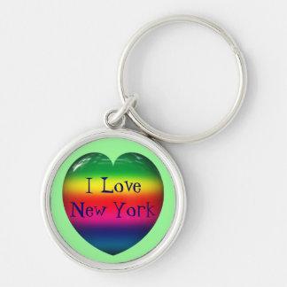 I Love New York Rainbow Heart Keychain