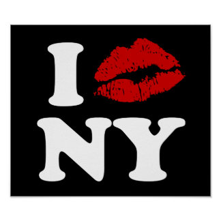 I Love New York | Red Lipstick Kissing Lips xxx Poster
