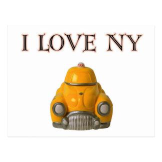 I Love New York Yellow Checkered Taxi Cab Postcard