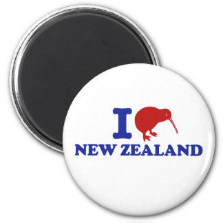 I Love New Zealand 2 Inch Round Magnet
