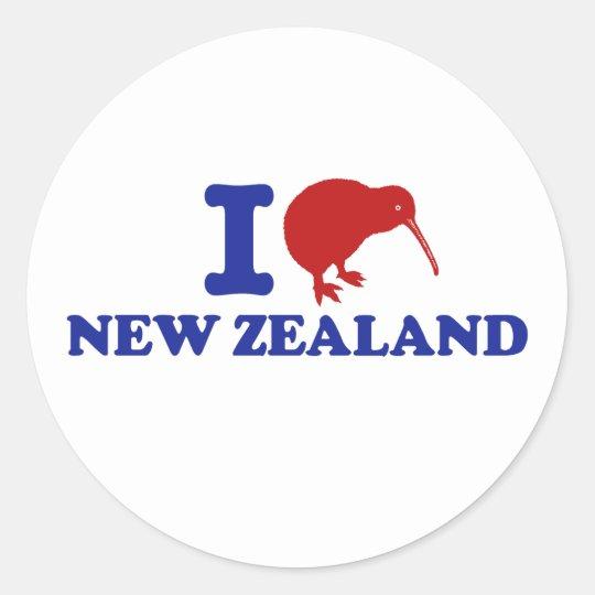 I Love New Zealand Classic Round Sticker