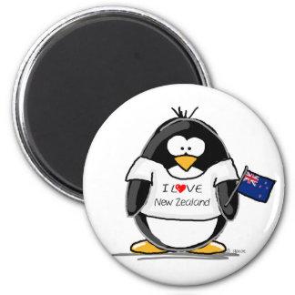 I Love New Zealand Penguin 2 Inch Round Magnet