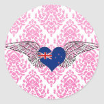 I Love New Zealand -wings Classic Round Sticker