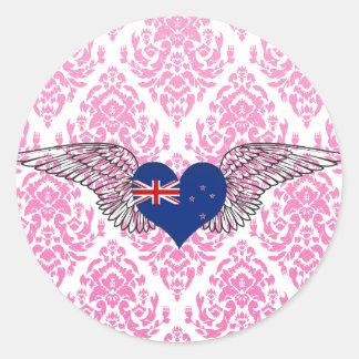 I Love New Zealand -wings Round Sticker