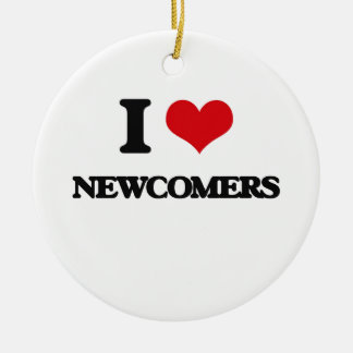 I Love Newcomers Double-Sided Ceramic Round Christmas Ornament