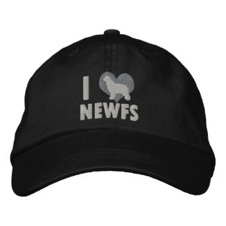 I Love Newfs Embroidered Hat (Monochrome)