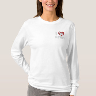 I Love Newfs Embroidered Long Sleeve TShirt