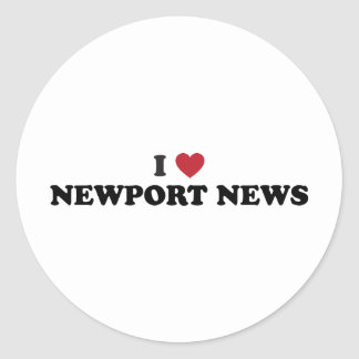 I Love Newport News Virginia Classic Round Sticker